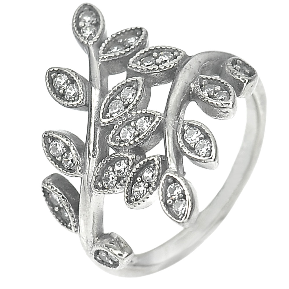 2.88 G. Good White CZ Real 925 Sterling Oxidized Silver Olive Leaf Ring Size 6