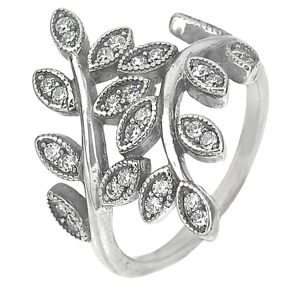 2.95 G. Round White CZ Real 925 Sterling Oxidized Silver Olive Leaf Ring Size 6