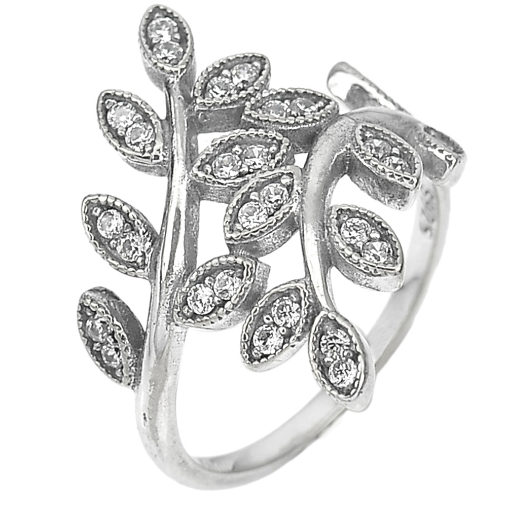 2.72 G. Round White CZ Real 925 Sterling Oxidized Silver Olive Leaf Ring Size 6