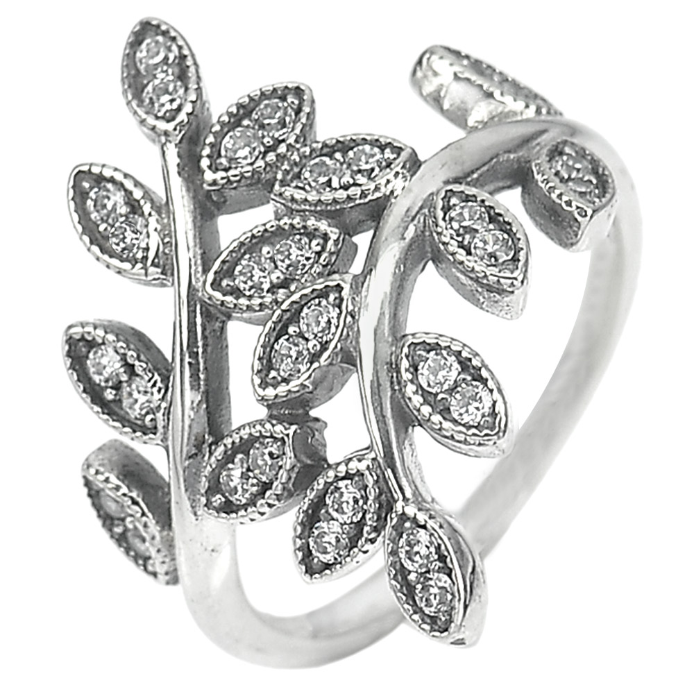 2.98 G. Round White CZ Real 925 Sterling Oxidized Silver Olive Leaf Ring Size 6