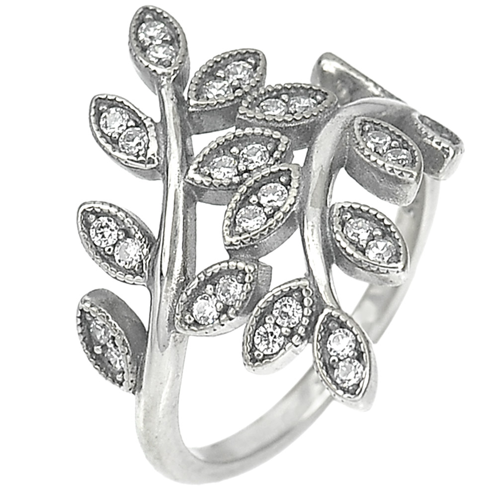 2.90 G. Lovely White CZ Real 925 Sterling Oxidized Silver Olive Leaf Ring Size 6