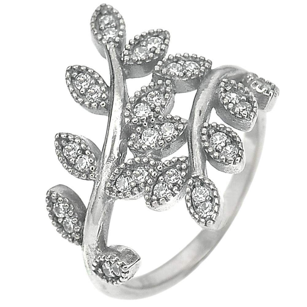 3.03 G. Good White CZ Real 925 Sterling Oxidized Silver Olive Leaf Ring Size 7