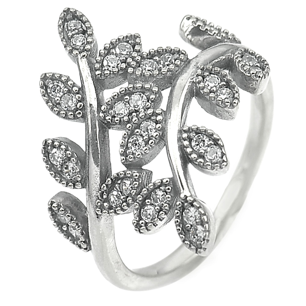 3.05 G. White CZ Real 925 Sterling Oxidized Silver Olive Leaf Ring Size 6.5