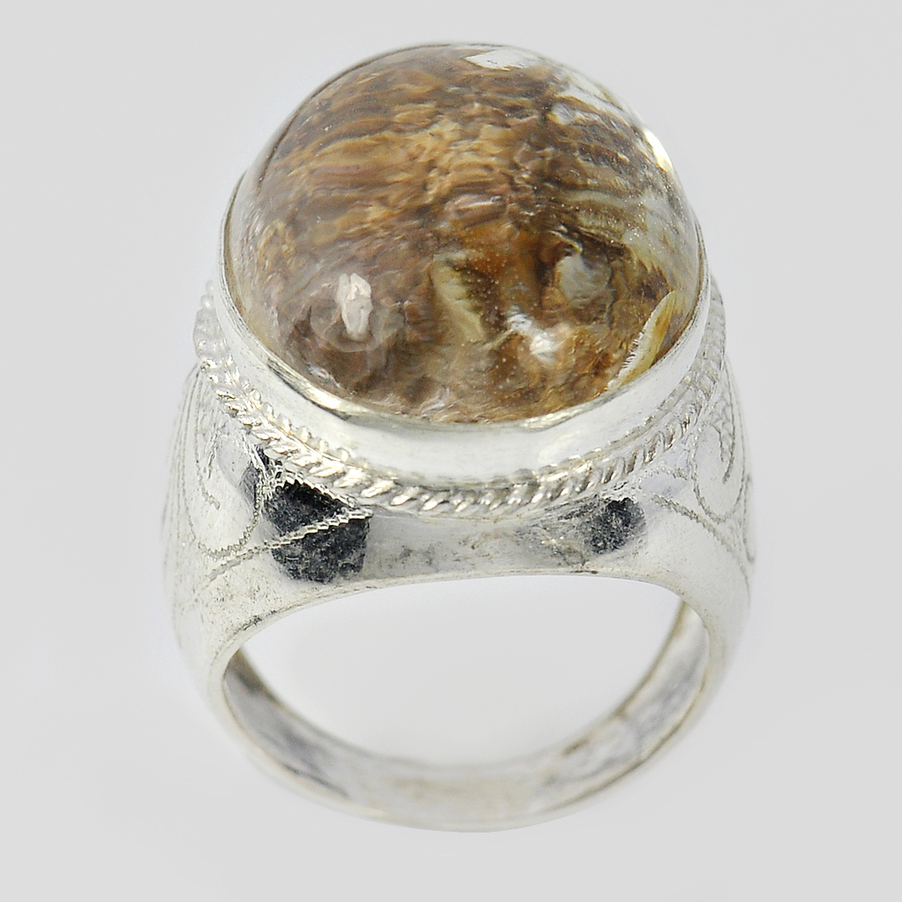 13.39 G. Oval Cabochon Natural Quartz 925 Sterling Silver Jewelry Ring Size 9.5