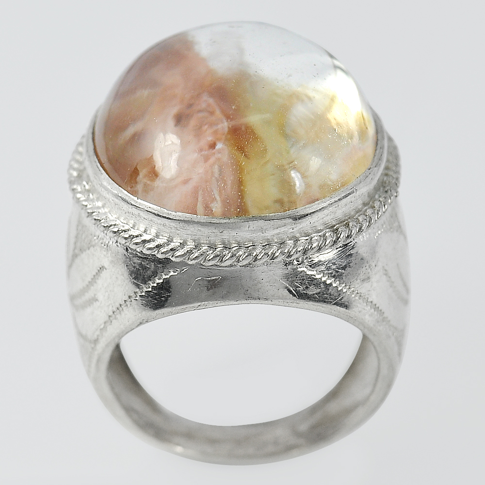 14.15 G. Oval Cabochon Natural Quartz 925 Sterling Silver Jewelry Ring Size 8.5