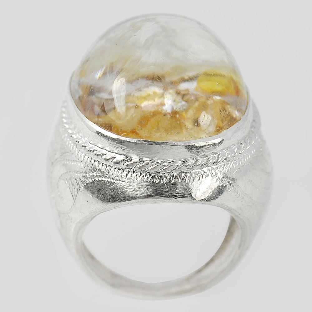 17.47 G. Oval Cabochon Natural Quartz 925 Sterling Silver Jewelry Ring Size 8.5