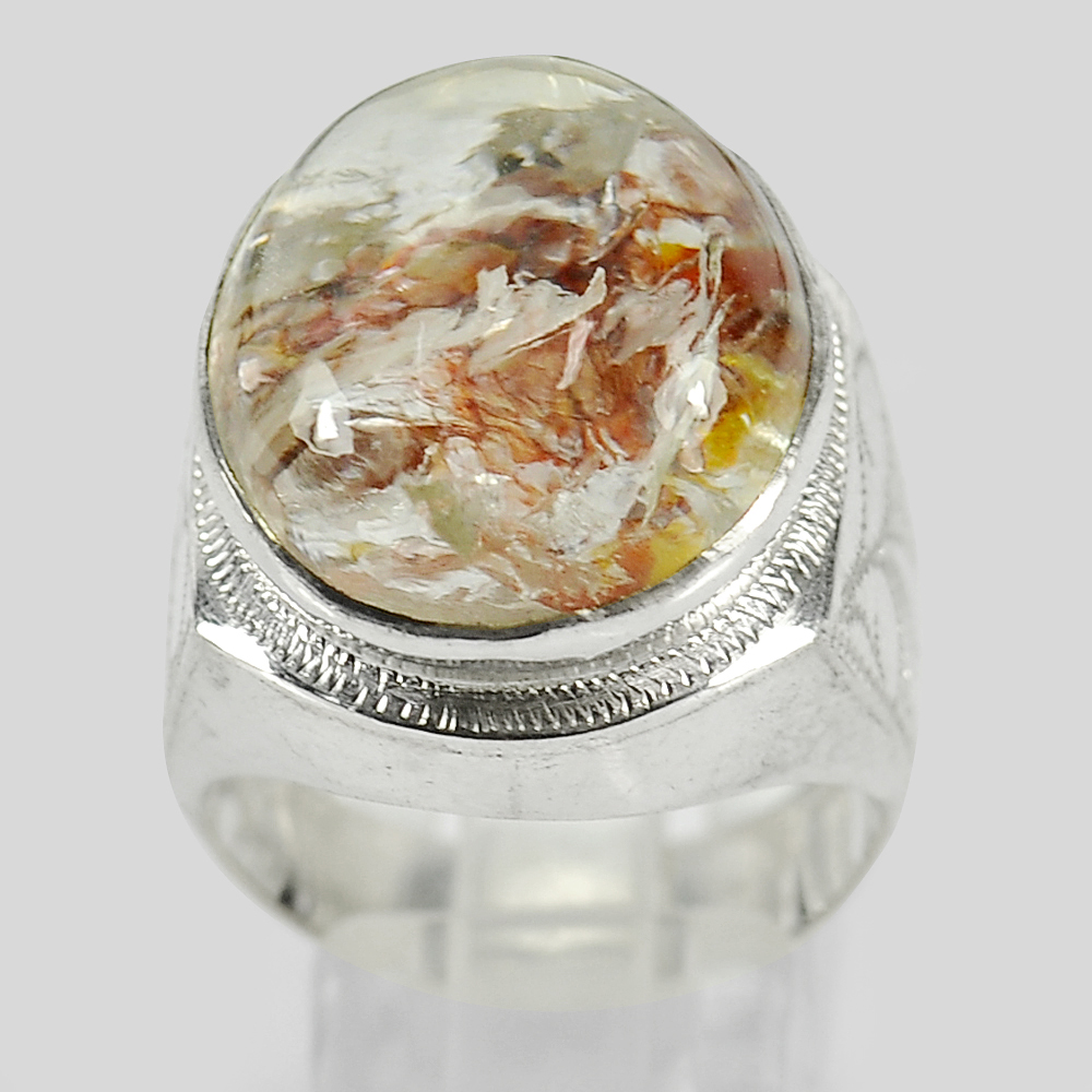 10.46 G. Oval Cabochon Natural Quartz 925 Sterling Silver Jewelry Ring Size 10
