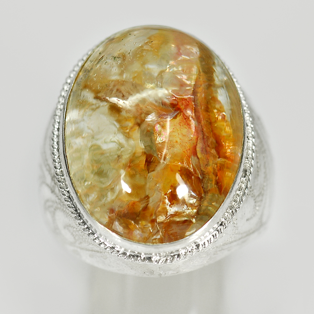 11.89 G. Oval Cabochon Natural Quartz 925 Sterling Silver Jewelry Ring Size 8.5