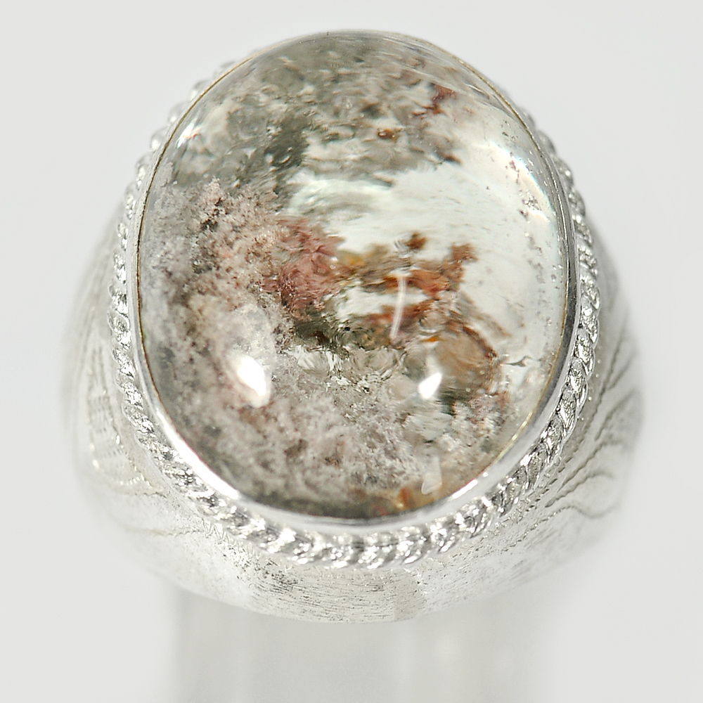 12.18 G. Oval Cabochon Natural Gem Moss Quartz 925 Sterling Silver Ring Size 9