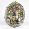 12.43 G. Multi-Color Natural Tourmaline Real 925 Sterling Silver Ring Size 8.5
