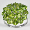7.13 G. Natural Peridot Real 925 Sterling Silver White Gold Plated Ring Sz 9