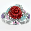 925 Sterling Silver Ring Size 8 Flower Rose Red Resin and Enamel 5.67 G.