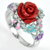 925 Sterling Silver Ring Size 8 Flower Rose Red Resin and Enamel 5.78 G.
