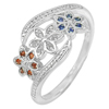 2 G. Good Design Flower Multi-Color CZ Real 925 Sterling Silver Ring Size 7