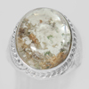 53.64 G. Oval Cabochon Natural Quartz 925 Sterling Silver Jewelry Ring Size 7.5