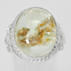 52.14 G. Oval Cabochon Natural Quartz 925 Sterling Silver Jewelry Ring Size 7.5