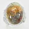 61.42 G. Oval Cabochon Natural Quartz 925 Sterling Silver Jewelry Ring Size 6.5