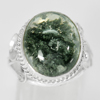 45.76 G. Oval Cabochon Natural Quartz 925 Sterling Silver Jewelry Ring Size 7