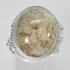 59.24 G. Oval Cabochon Natural Gem Moss Quartz 925 Sterling Silver Ring Size 7.5