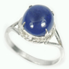 3.36 G. Natural Gem Oval Cabochon Blue Tanzanite Sterling Silver Ring Size 7.5