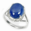 4.38 G. Natural Gem Oval Cabochon Blue Tanzanite 925 Sterling Silver Ring Size 8