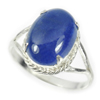 4.36 G.Natural Gem Oval Cabochon Blue Tanzanite Real Sterling Silver Ring Size 8