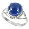 3.45 G. Natural Gem Oval Cabochon Blue Tanzanite 925 Sterling Silver Ring Size 7