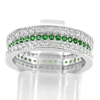 925 Sterling Silver Jewelry Ring Size 6 with Round Shape Green White CZ 4.05 G.