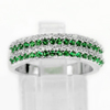 925 Sterling Silver Jewelry Ring Size 6 with Round Shape Green White CZ 3.53 G.