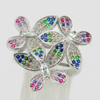 925 Sterling Silver Jewelry Ring Size 6 with Round Shape Multi-Color CZ 5.61 G.