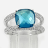 925 Sterling Silver Ring Size 7 Cushion Checkboard Shape London Blue CZ 4.44 G.