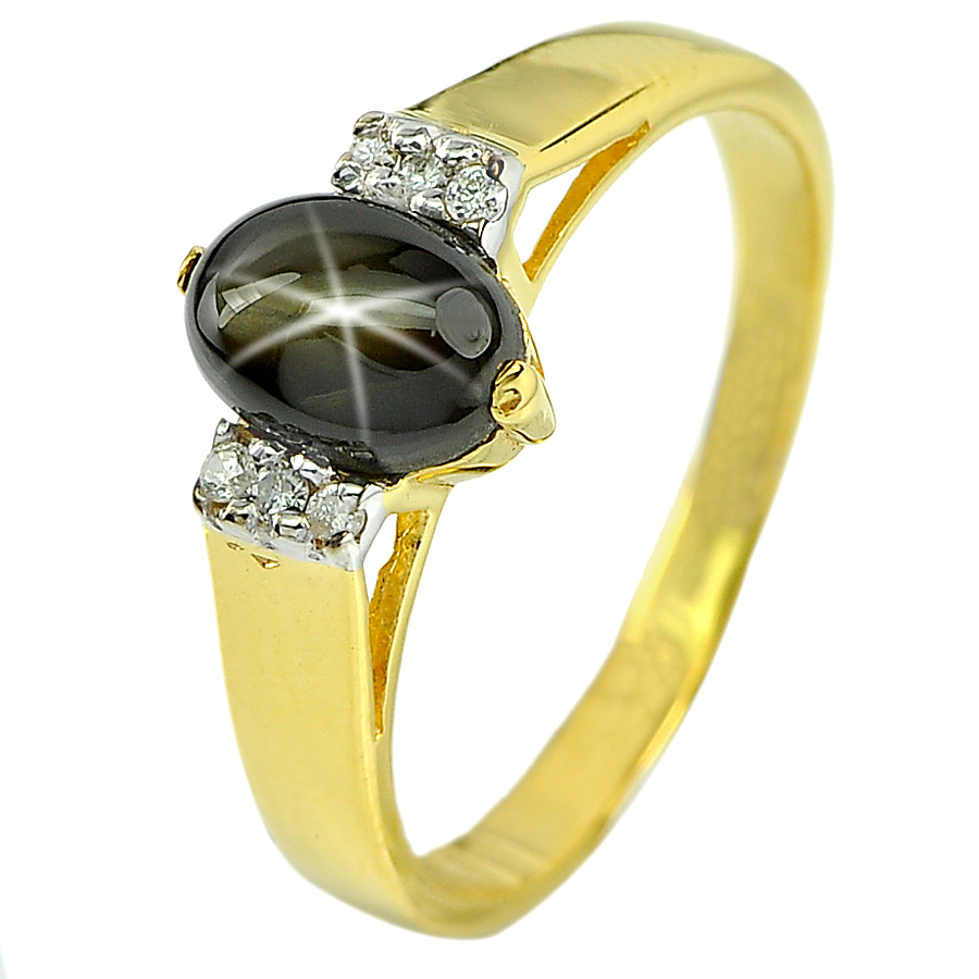 1.62 ct. Natural Gem Black Star Sapphire and Diamond 14K Solid Gold Ring Sz 6.5