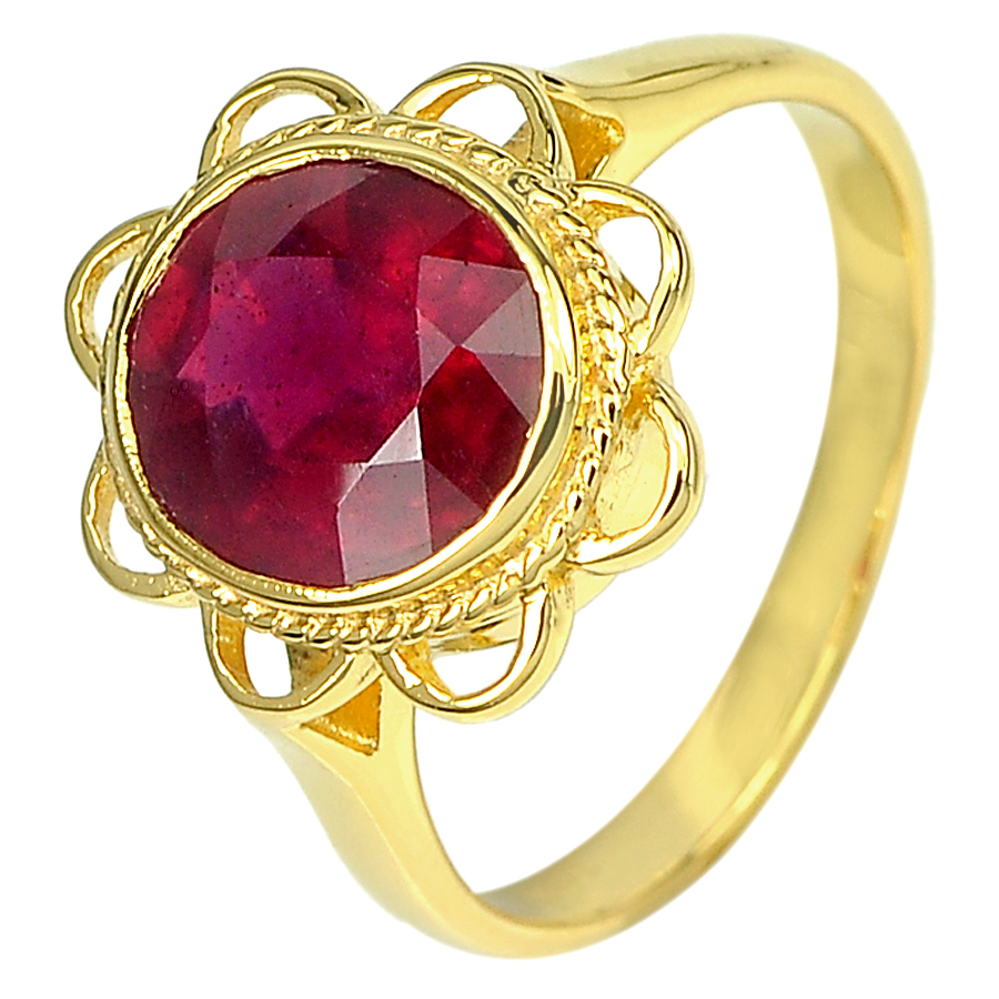 3.13 Ct. Natural Gemstone Blood Red Ruby 14K Solid Gold Ring Jewelry