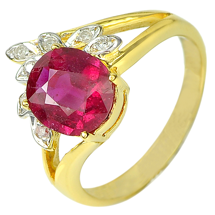 2.22 Ct. Natural Pink Red Ruby & Diamond 14K Solid Gold Ring Size 6.5