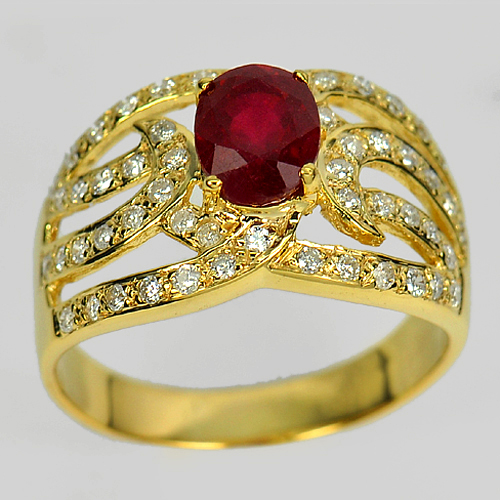 1.90 ct. Natural Gem Red Ruby with White Diamond 14K Solid Gold Ring Size 6.5
