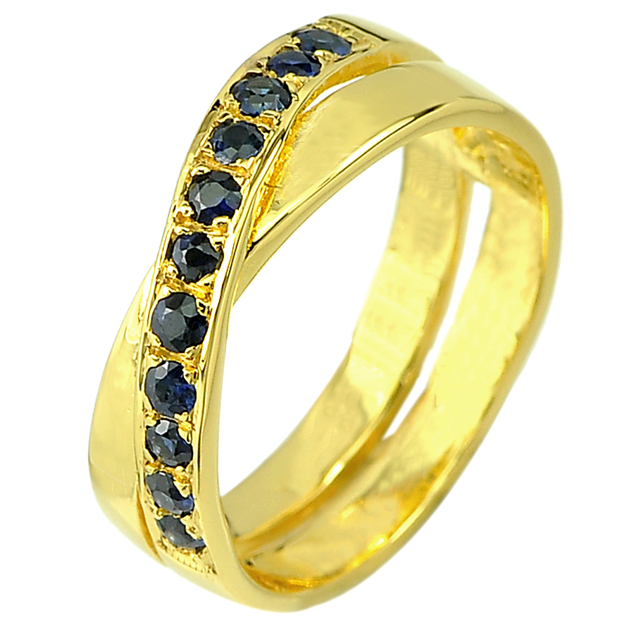 0.38 Ct. Natural Blue Sapphire 14K Solid Gold Ring Size 6.5