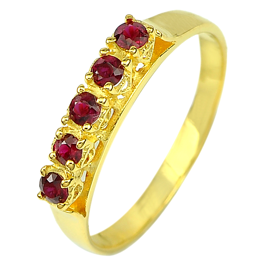 0.31 Ct. Round Natural Vivid Red Songae Sapphire 14K Solid Gold Ring