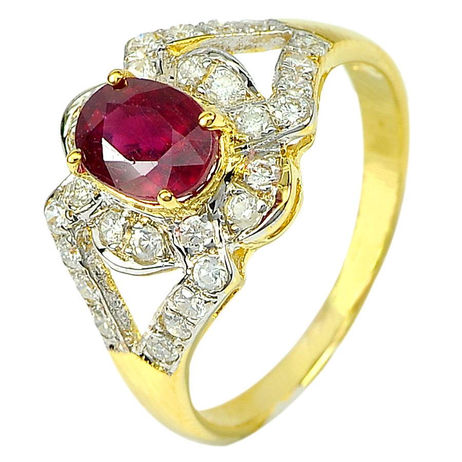 1.36 Ct. Natural Pigeon Blood Red Ruby and Diamond 14K Solid Gold Ring Size 6.5
