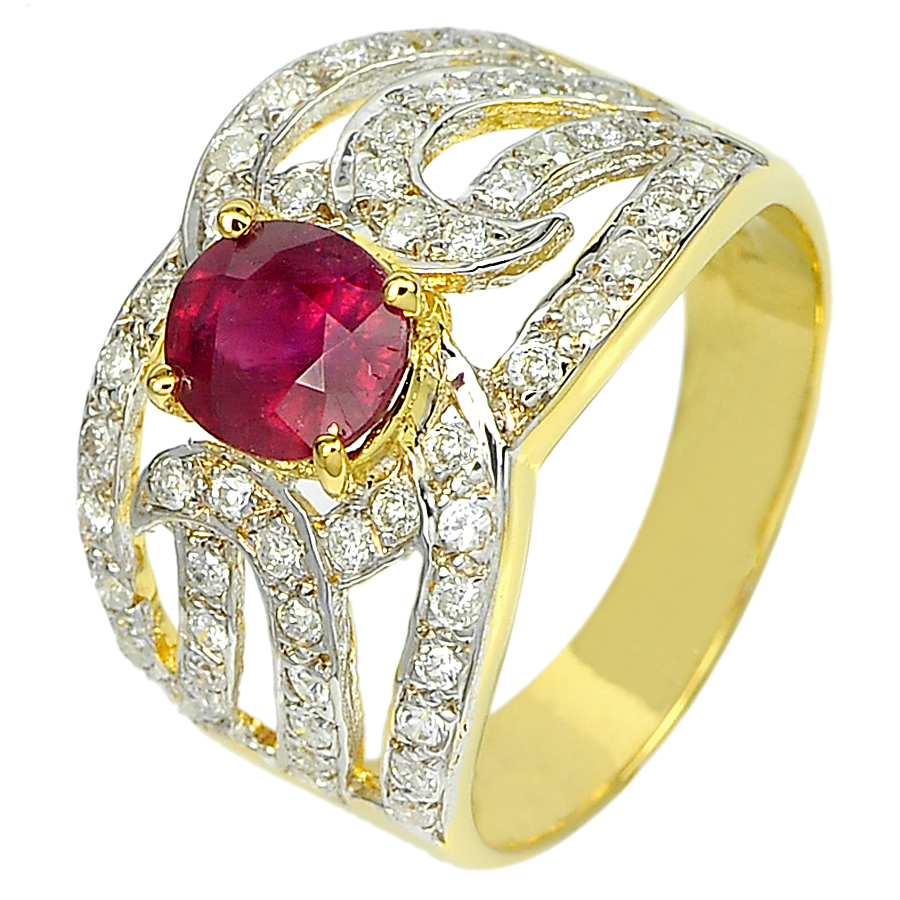 1.29 Ct. Natural Gemstone Red Ruby and White Diamond 14K Solid Gold Ring Size6.5