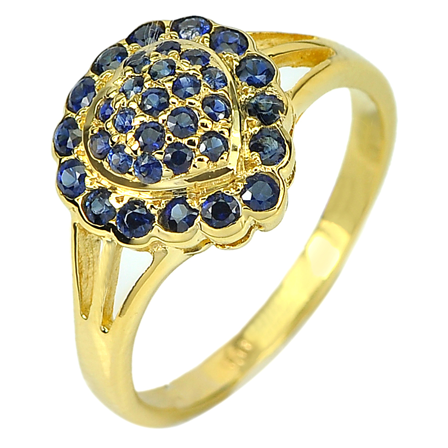 0.51 Ct. Natural Gemstone Blue Sapphire 14K Solid Gold Ring Size 6.5