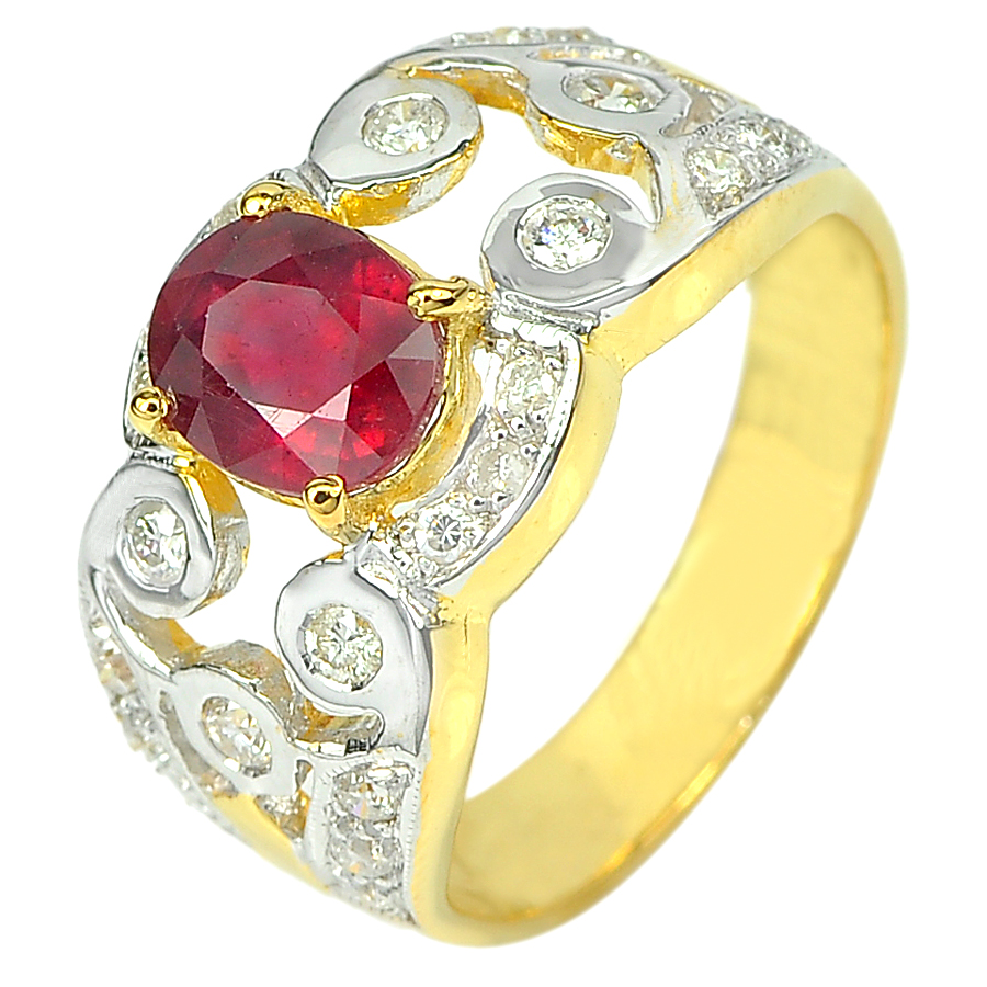 1.50 Ct. Natural Gemstone Blood Red Ruby and Diamond 14K Solid Gold Ring