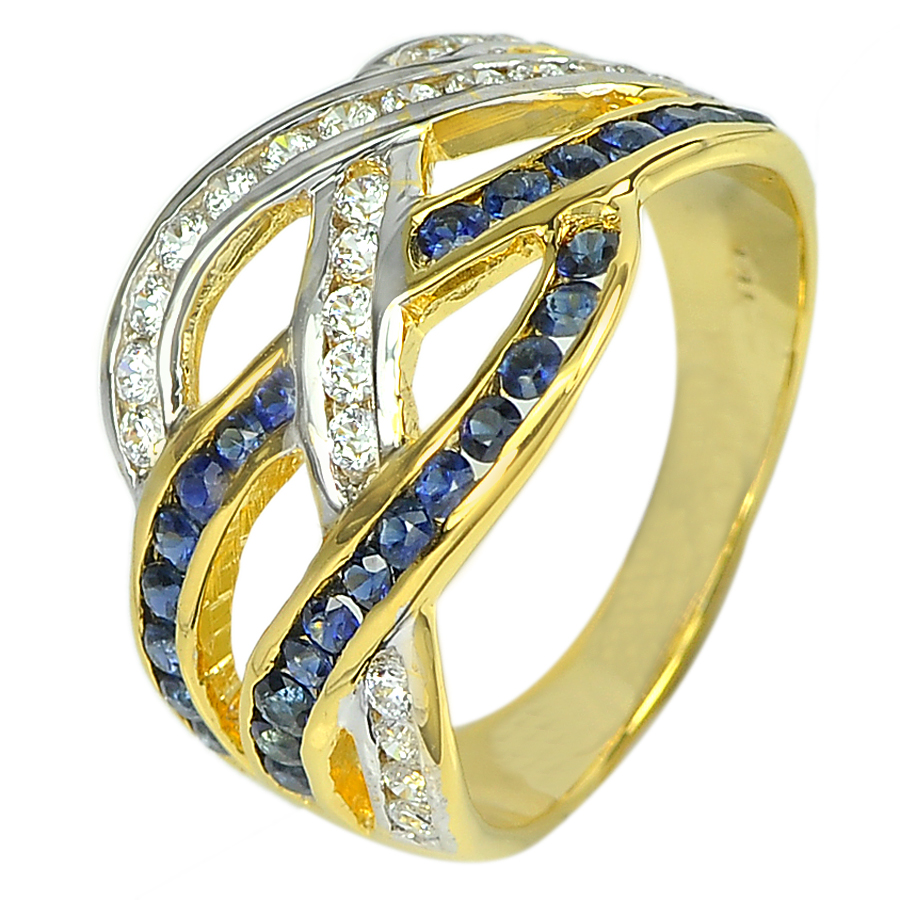 0.71 Ct. Natural Gemstone Sapphire and White Diamond 14K Solid Gold Ring Size6.5
