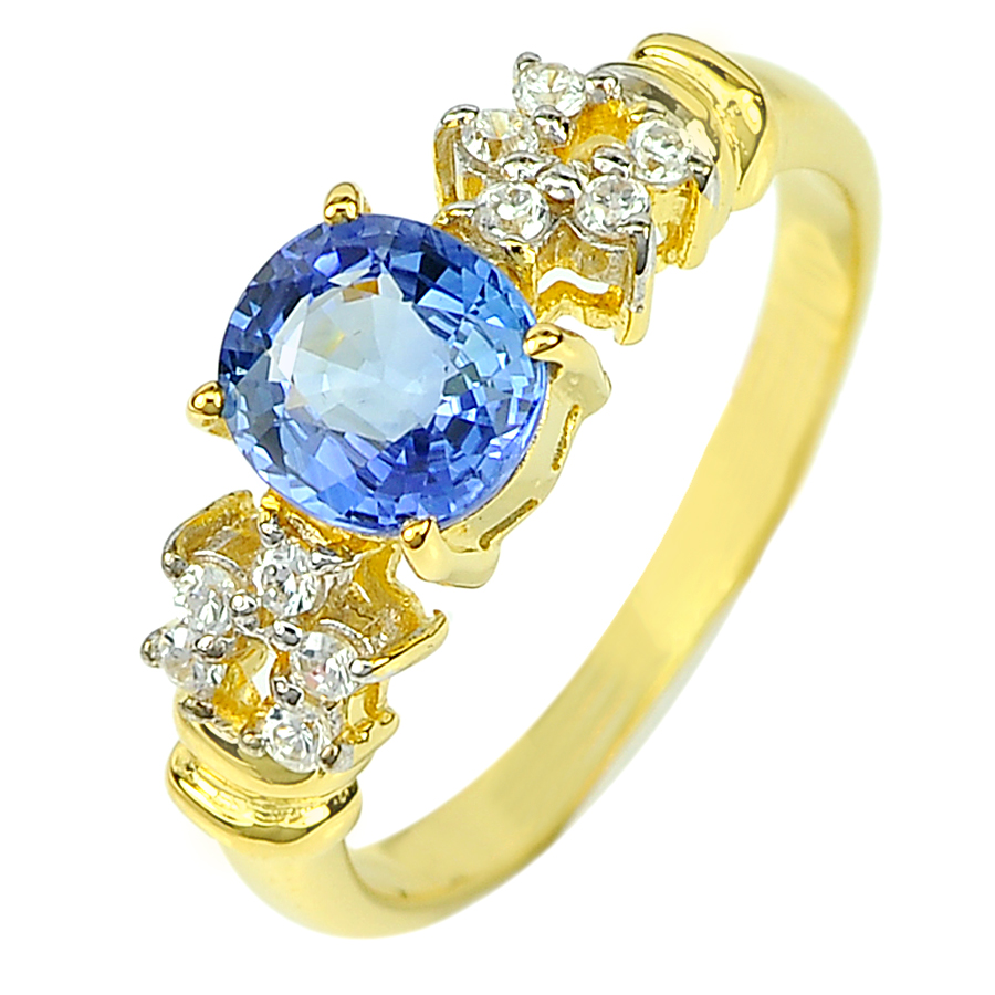 1.33 Ct. Natural Cornflower Blue Ceylon Sapphire & Diamond 14K Solid Gold Ring
