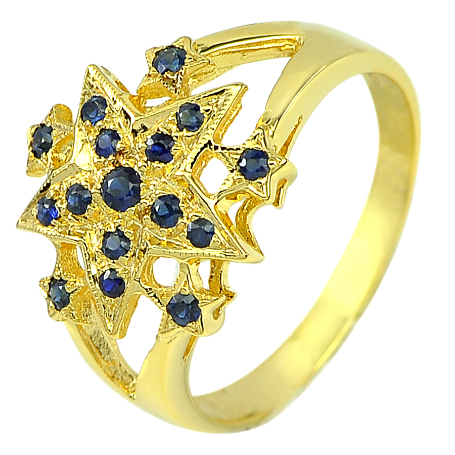 0.28 Ct. Round Shape Natural Gemstone Blue Sapphire 14K Solid Gold Ring Size 6.5