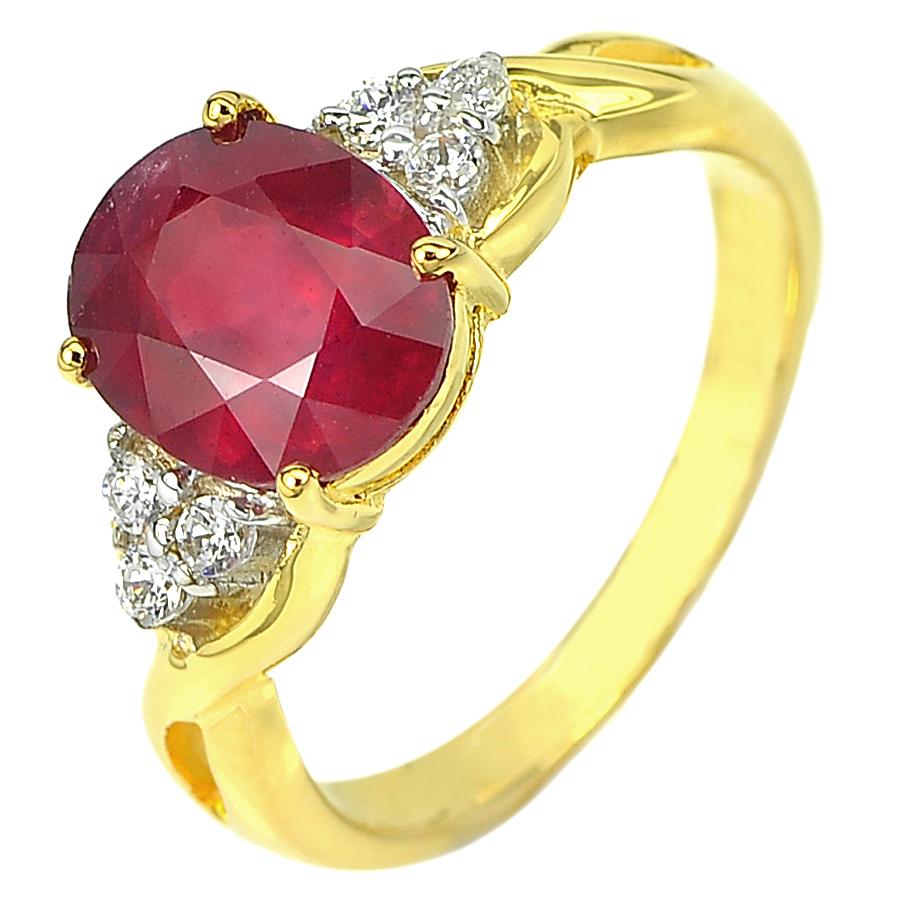 3.37 Ct. Natural Gemstone Red Ruby and Diamond 14K Solid Gold Ring Size 6.5