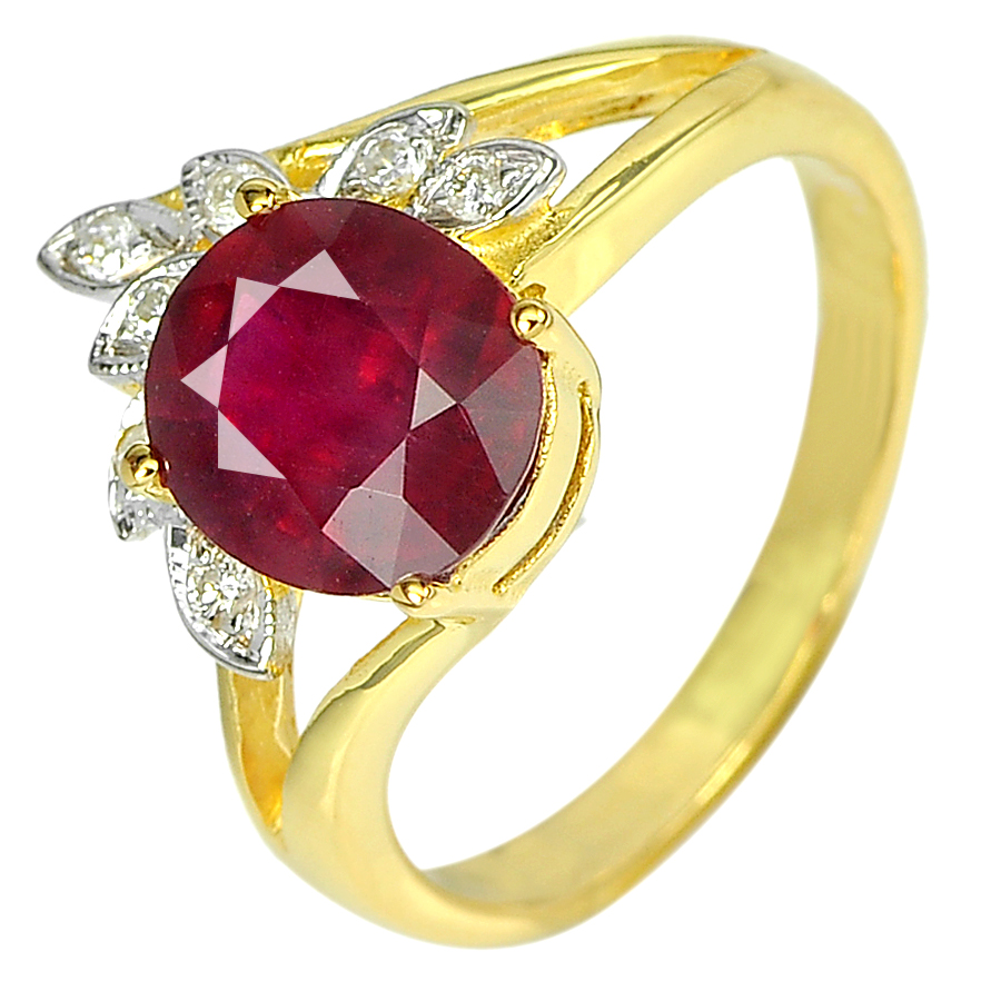 2.83 Ct. Natural Red Ruby & Diamond 14K Solid Gold Ring Size 6.5