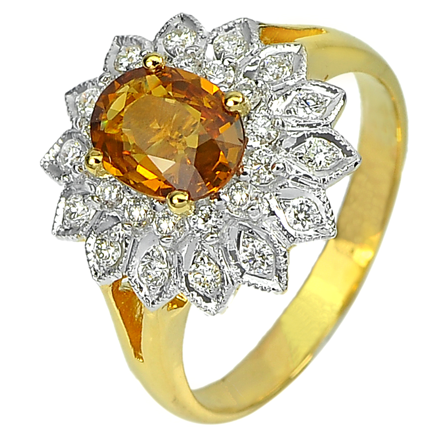 1.26 Ct. Gem Natural Yellow Sapphire with Diamond 18K Solid Gold Ring Size 6.5