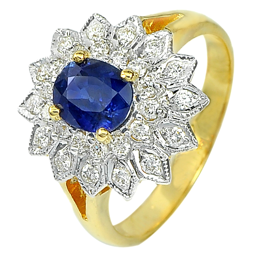 1.17 Ct. Natural Blue Sapphire with White Diamond 18K Solid Gold Ring Size 6.5