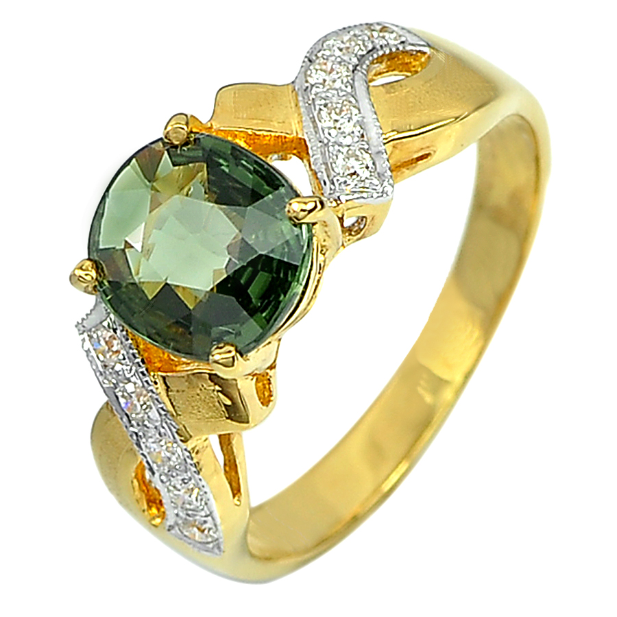 1.50 Ct. Natural Green Sapphire with White Diamond 18K Solid Gold Ring Size 6