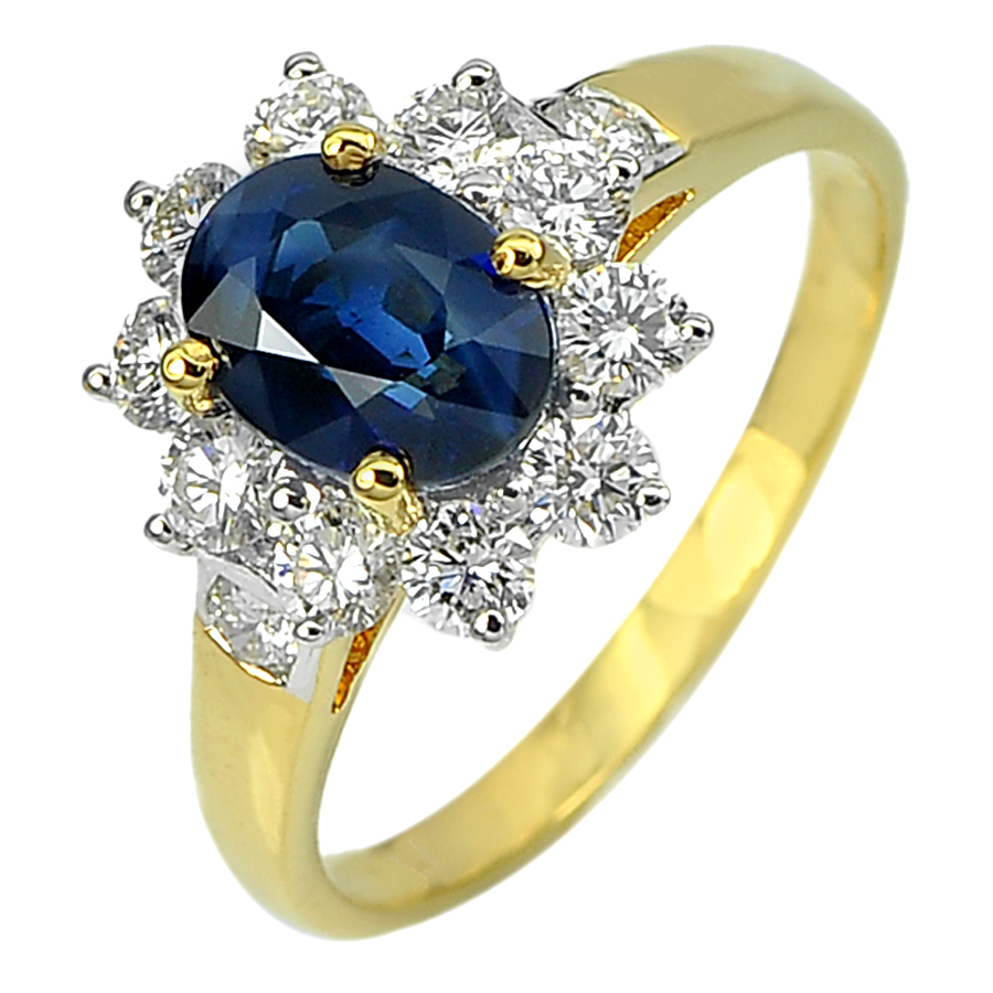 1.54 Ct. Natural Blue Sapphire with White Diamond 18K Solid Gold Ring Size 5.5
